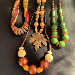 Hand-made Wooden and Clay Necklaces BUNDLE